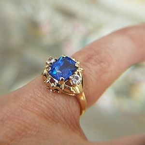 10K Yellow Gold Blue Emerald Engagement Ring